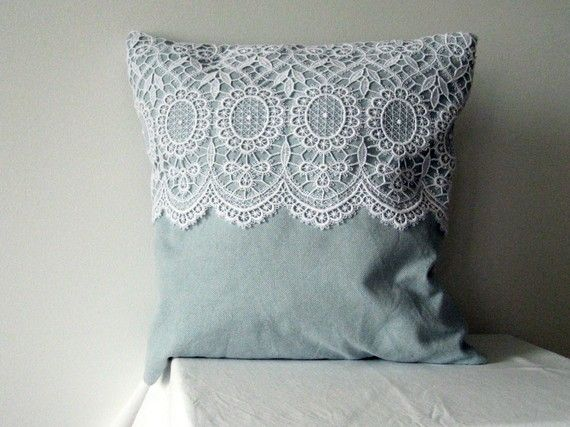 Very sweet lace pillow by Antracitproduction on etsy $38 - I like this, so easy!!