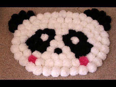 "Tappento ""Panda"" con i pon pon | how to make a carpet with bon bon - YouTube"