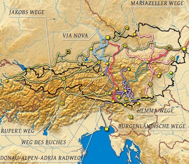 Jakobsweg - Etappen Österreich