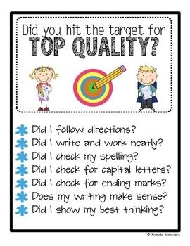Easy to follow personal best poster for student writing.