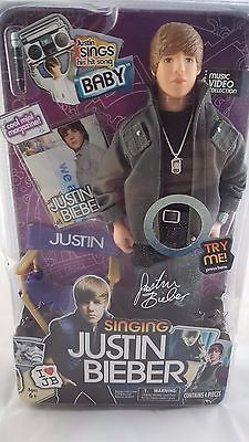 Justin Bieber Singing Doll NIB Baby Music Video Collection w/ Chair & Mic