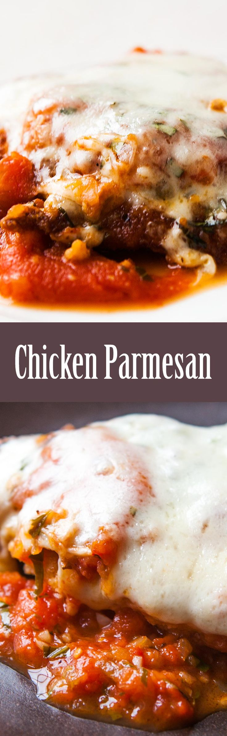Classic Chicken Parm! Chicken cutlets, breaded and fried, smothered with tomato sauce, covered with Mozzarella and Parmesan cheeses, and baked until the cheese is bubbly and melts into every nook and cranny. On SimplyRecipes.com