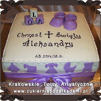 037. Tort na chrzciny dla dziewczynki z bucikami i kokardą. Cake with small shoes and with bows for baptism.