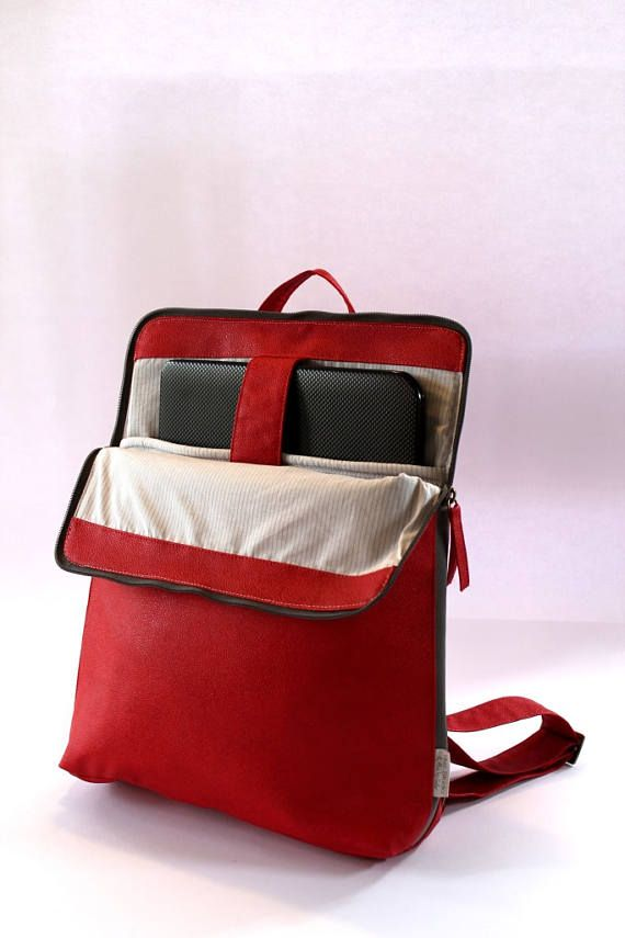 Rode Satcel gewatteerde Computer tas vrouwen Laptop rugzak