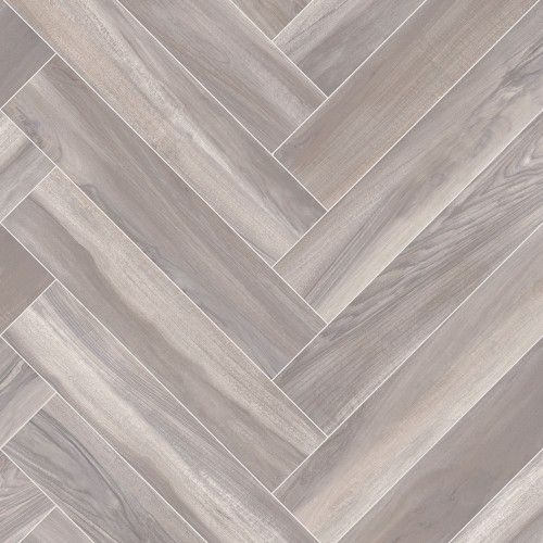 Smoked Parquet Herringbone Design Cushioned Vinyl Flooring Roll | Best4flooring UK