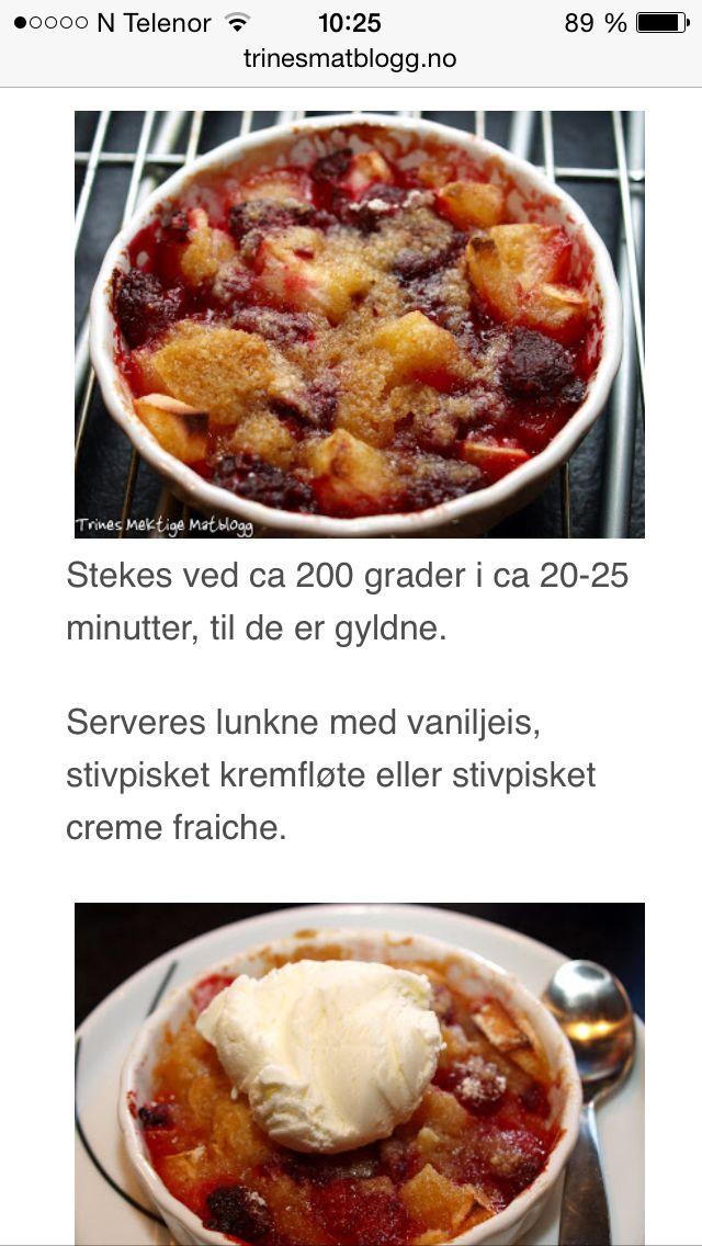Enkel smuldrepai m.epler & bringebær, trines matblogg 5