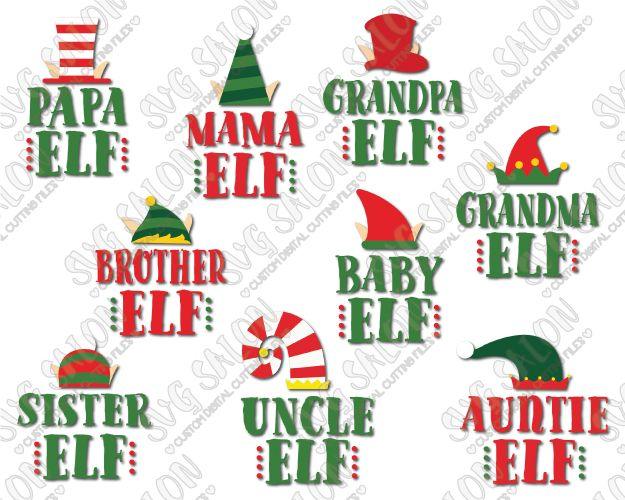 Cute Elf Hat Family Shirt Decal Cut File Set in SVG, EPS, DXF, JPEG, and PNG