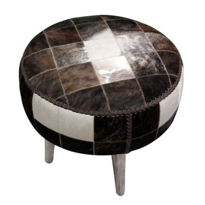 Round Patchwork Cowhide Footstool