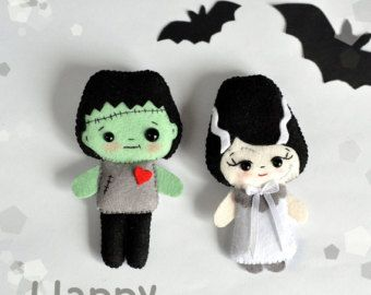 Cute felt Halloween SET of 3 ornaments Halloween by MyMagicFelt