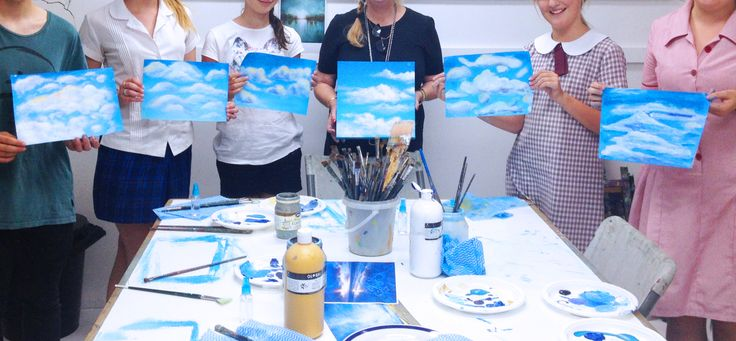 A 'Painting Clouds' workshop in our studio. This kids art class was taught by artist Lyn Hammond, she shared her tips for painting a sky. www.artandco.com.au