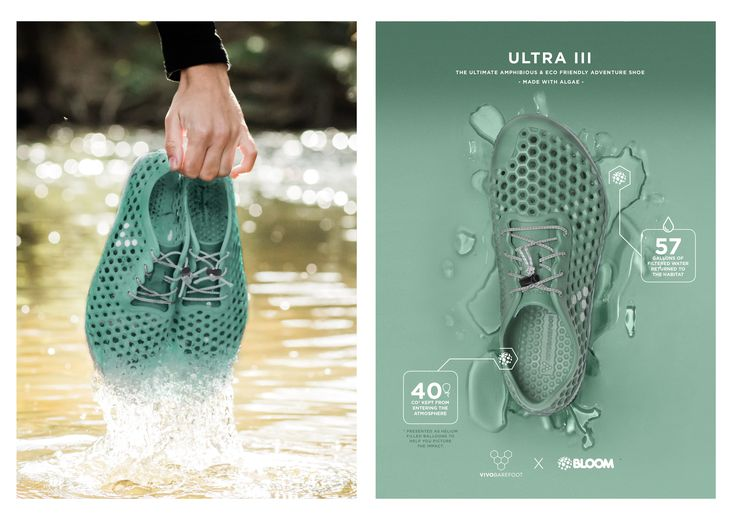 London-based barefoot shoe company VIVOBAREFOOT announced today its partnership with San Diego-based BLOOM, which uses algae biomass harvested from freshwater sources around the world (and cleaning them up in the process) to make EVA foams out of a non-fossil fuel for the first time—an innovation set to massively clean up the global shoe industry. VIVOBAREFOOT shoes will be the first full shoes to use the material and will be available for purchase in the summer of 2017