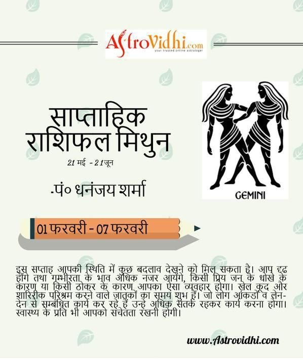 Check your Gemini weekly Horoscope (from 1 to 7 Feb 2016) in Hindi and plan your full week in advance.