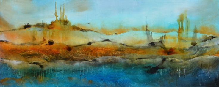 "- Title: Castle on the Mountain - Medium: Mixed media, water miscible oil paint, acrylic.  - Support: canvas, black painted sides, ready to hang.  - Size: 24"" x 60"" x 1.5"" ( 60 cm x 152 cm x 3.8..."
