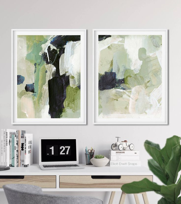 Abstract Print Set Of 2 Prints Art 16x20 Sage Green Printable Contemporary Wall Large