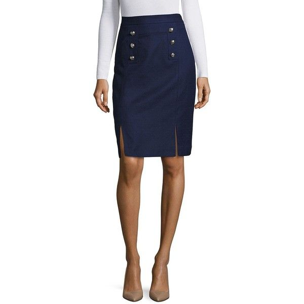 Tahari Arthur S. Levine Textured Traditional-Fit Pencil Skirt ($79) ❤ liked on Polyvore featuring skirts, military navy, knee length pencil skirt, button pencil skirt, pencil skirts, blue skirt and button front skirt