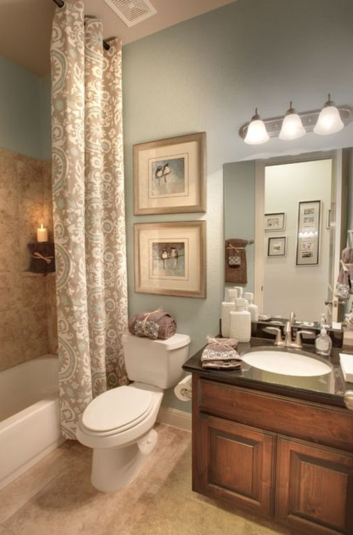 Photo Gallery In Website  I like the shower curtain that goes from ceiling to floor II Breezy Bathroom Colors BlueBrown Bathroom DecorElegant