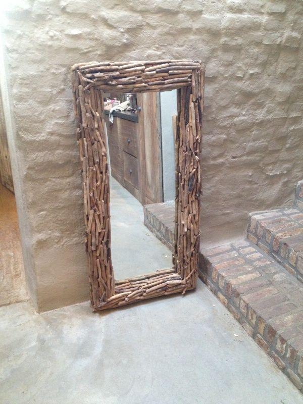 Grote vergrijsd houten spiegel drijfhout driftwood 125 x 65 cm het jagershuis pinterest - Spiegel voor ingang ...