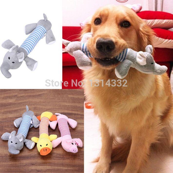 Gratis pengiriman anjing peliharaan anjing suara mewah mainan anjing peliharaan mengunyah Squeaker melengking suara mewah bebek babi & gajah 3 Designs