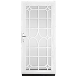 unique home designs 36 in x 80 in lexington white surface mount steel security door with shatter resistant glass and nickel hardware security door. beautiful ideas. Home Design Ideas