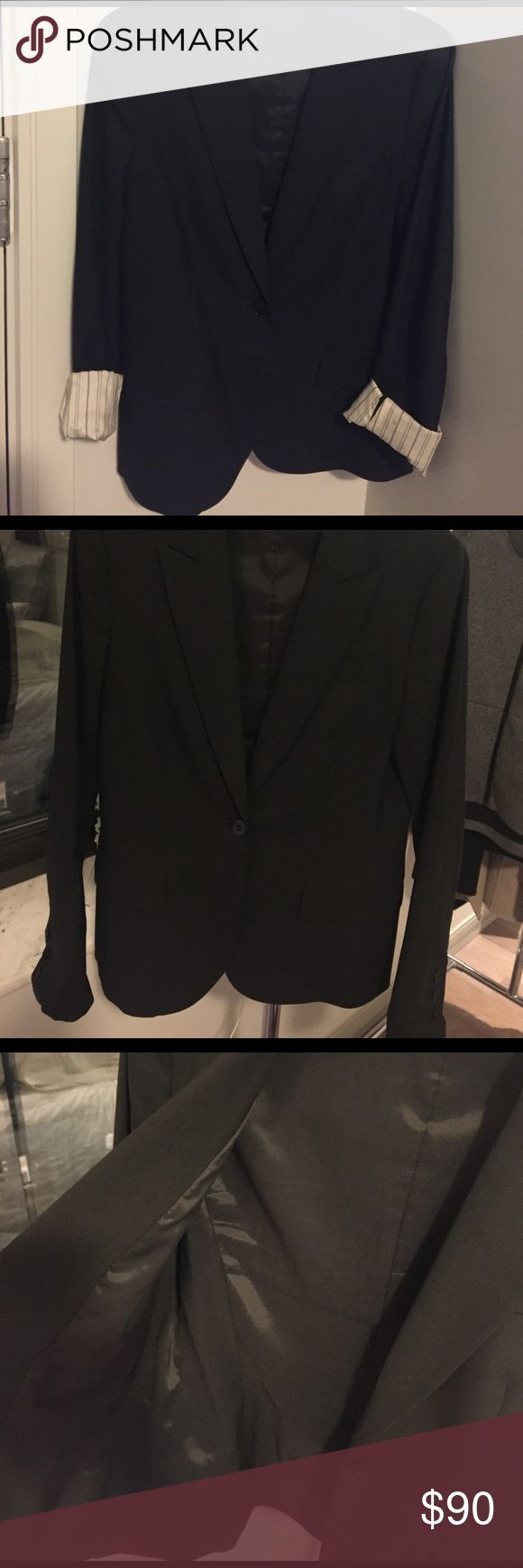 Theory Black Blazer Sleeves Lined With Striped Pattern Lined Inside. Light, barely visible pockets. 96% Wool 4%. Three buttons for each sleeve side, left side missing one button. Excellent blazer for work. Keep it stylish while folding sleeve for striped pattern to be visible! Theory Jackets & Coats Blazers