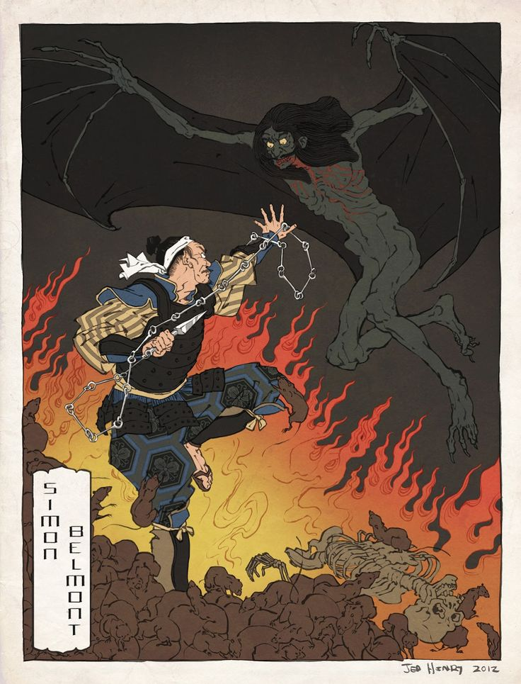 Classic video game characters, drawn in the style of Japanese ukiyo-e woodblock art