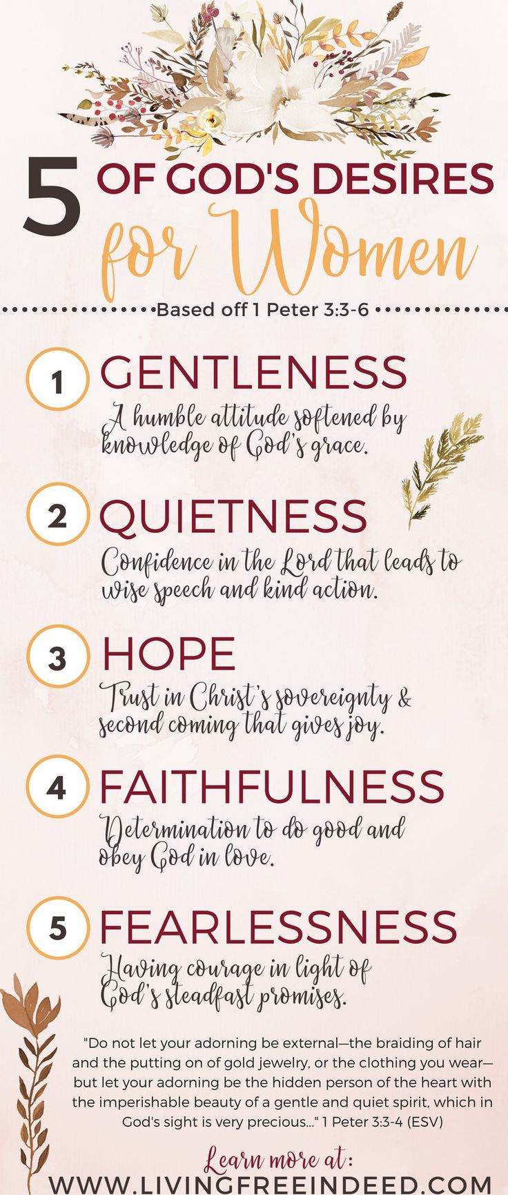 God desires women with inner beauty. It's about the heart hidden inside - the spirit that is imperishable. Here are 5 qualities of holy womanhood. | Biblical womanhood | Verses about women in the Bible | How to Be a Godly Woman | How to Follow Jesus | Bible Verses about Femininity | Hope for Women | God's Design for Women