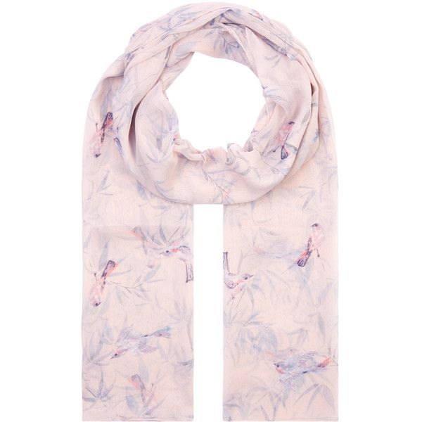 Accessorize Roise Bird Chiffon Scarf ($35) ❤ liked on Polyvore featuring accessories, scarves, chiffon shawl, chiffon scarves, pink shawl, accessorize scarves and print scarves