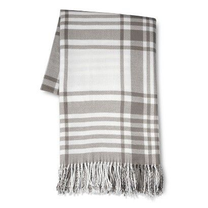 Threshold™ Oversized Plaid Throw Gray for the Master Bedroom