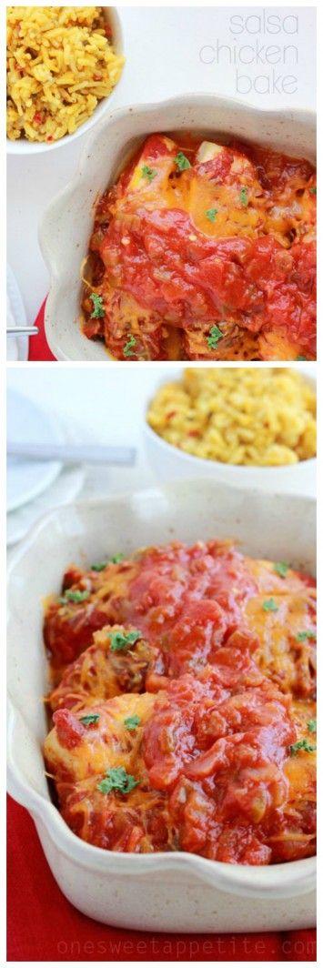 Salsa Chicken Bake on www.cookingwithru... is just 3 ingredients to dinner!