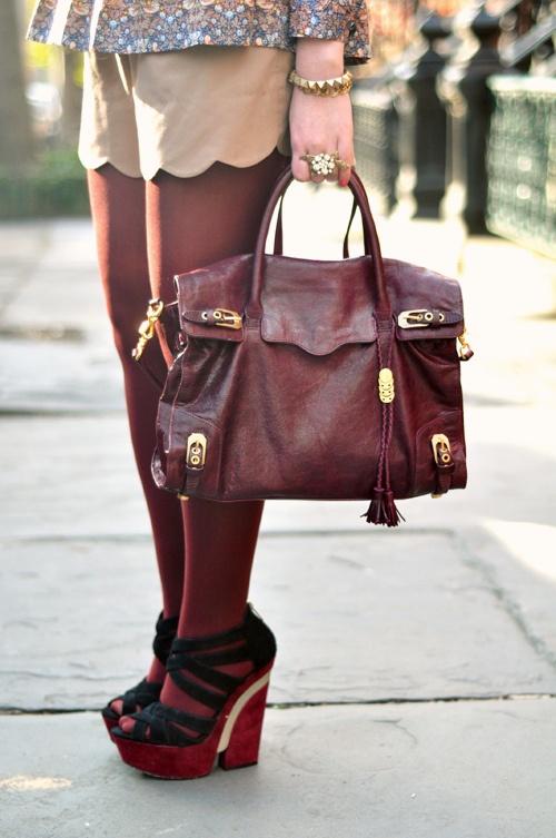 fall style - maroon tights and scalloped shorts.....love the handbag most!