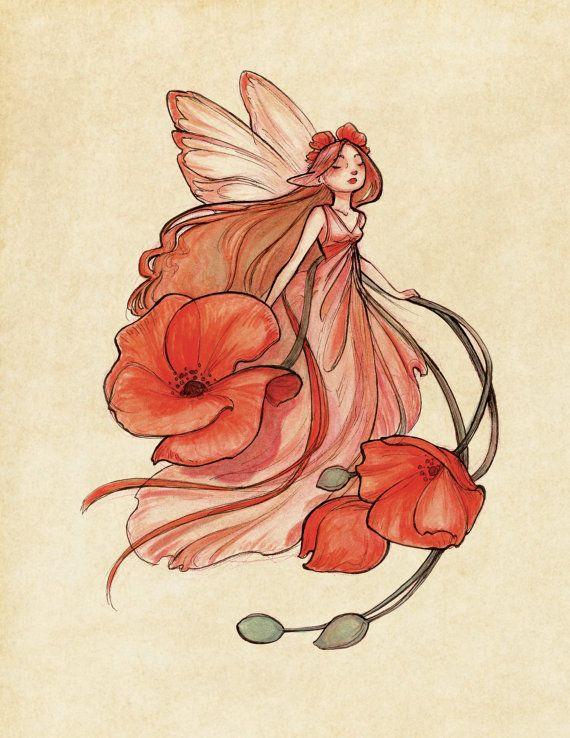 Midsummer Fairies  Poppy 8.5x11 Art Print by CaseyRobinArt on Etsy, $20.00