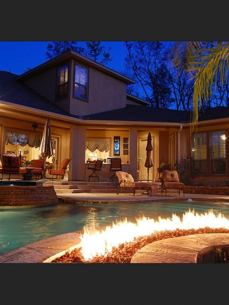 Fire *pit* attached to pool--swimming & s'mores at the same time!