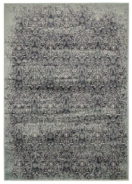 This rug features a beautiful traditional pattern in soothing modern tones: Caliente 326 Denim Blue Multi Coloured Patterned Traditional Rug