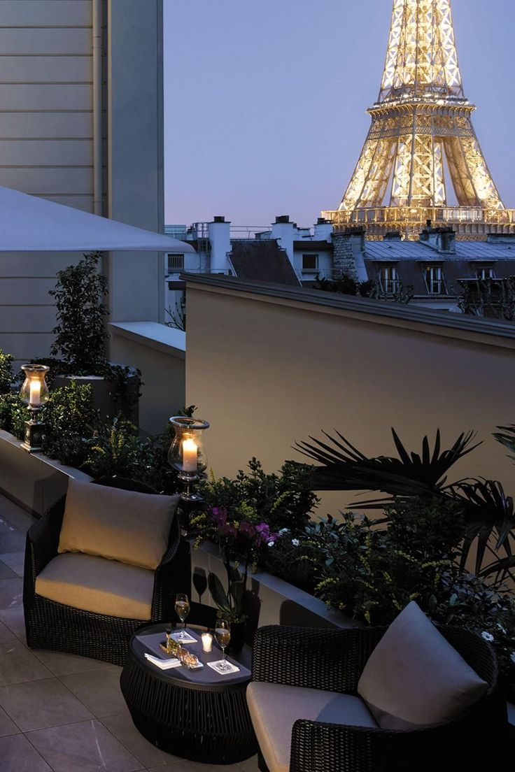 Sip a glass of French wine out on the terrace overlooking the Eiffel Tower. Shangri-La Hotel Paris (Paris, France) - Jetsetter