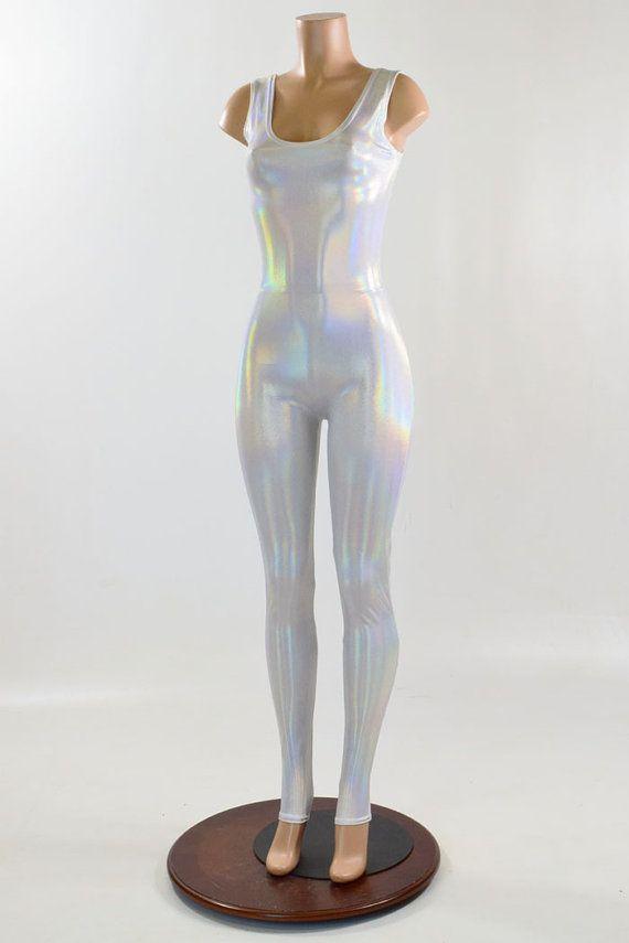 Flashbulb White Holographic Sleeveless Spandex Catsuit 150883