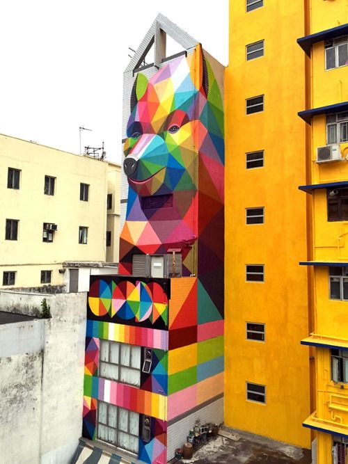 Street Artist: Okuda Okuda San Miguel Erice was born 1980 in Santander and based in Madrid since 2000 with a Bachelor of Fine Arts from the Complutense University of Madrid. Since its inception in 1997, his pieces on rail-roads and abandoned...  #streetart #Otrasdemencias