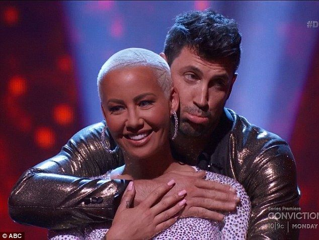 Almost got the boot-y: Amber Rose was last to be called safe on Tuesday night's Dancing With The Stars