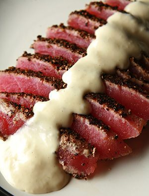 Pepper Crusted Tuna with Wasabi Cream Sauce