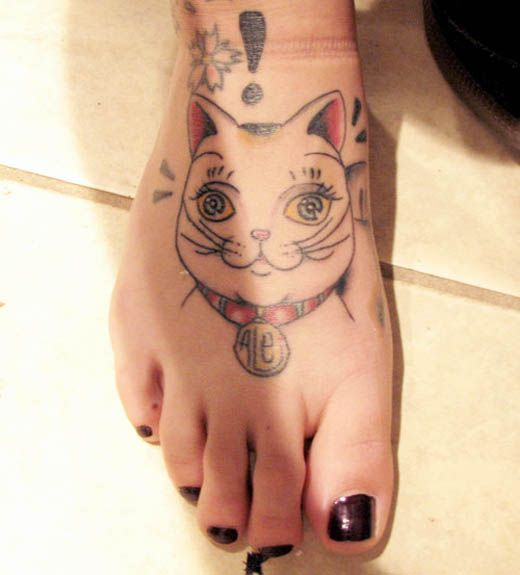 Healthy Cat Tattoo Design for Foot