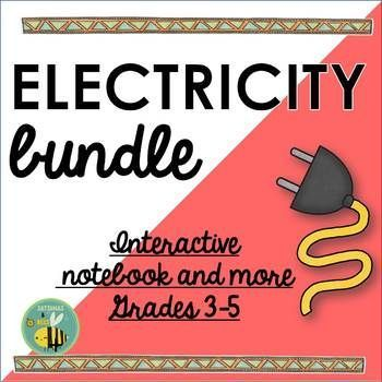 This electricity bundle currently includes 2 differentiated interactive science notebook foldables for grades 3-5 (grade 6 review), anchor charts, a 12 slide PowerPoint + differentiated notes (booklet) and 24 word wall cards.  All the foldables included in this resource will fit perfectly in science notebooks, lapbooks or displayed in the classroom.