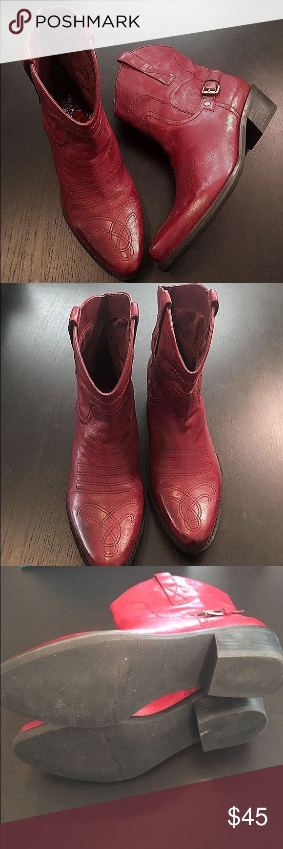 """Franco Sarto Shorty Red Cowboy Boots Must have Franco Sarto Waco Red Short Cowboy boots. The boots have leather uppers, silver faux buckles on the outside of the boots and a 2"""" heel.  Like new Condition. Only worn once. Size 9. Franco Sarto Shoes Ankle Boots & Booties"""