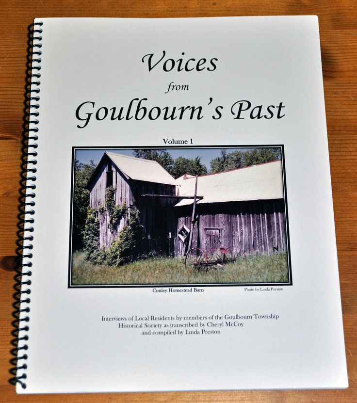 Voices of Goulbourn's Past Volume 1 Eleven interviews and photographs of long time residents by members of the Goulbourn Township Historical Society as transcribed by Cheryl McCoy and compiled by Linda Preston. Card Cover, Spiral Bound, 8.5″ x 11″, 85 pages $15.00 incl. tax (plus $4.00 shipping)