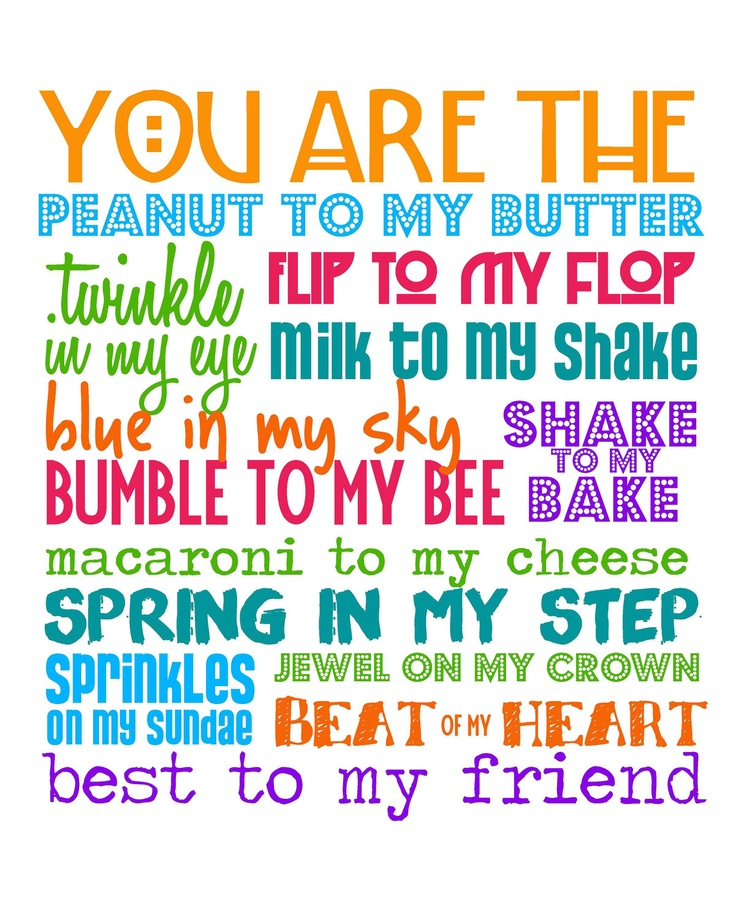 You Are The Peanut To My Butter Best Friend Edition 8x10 Multi