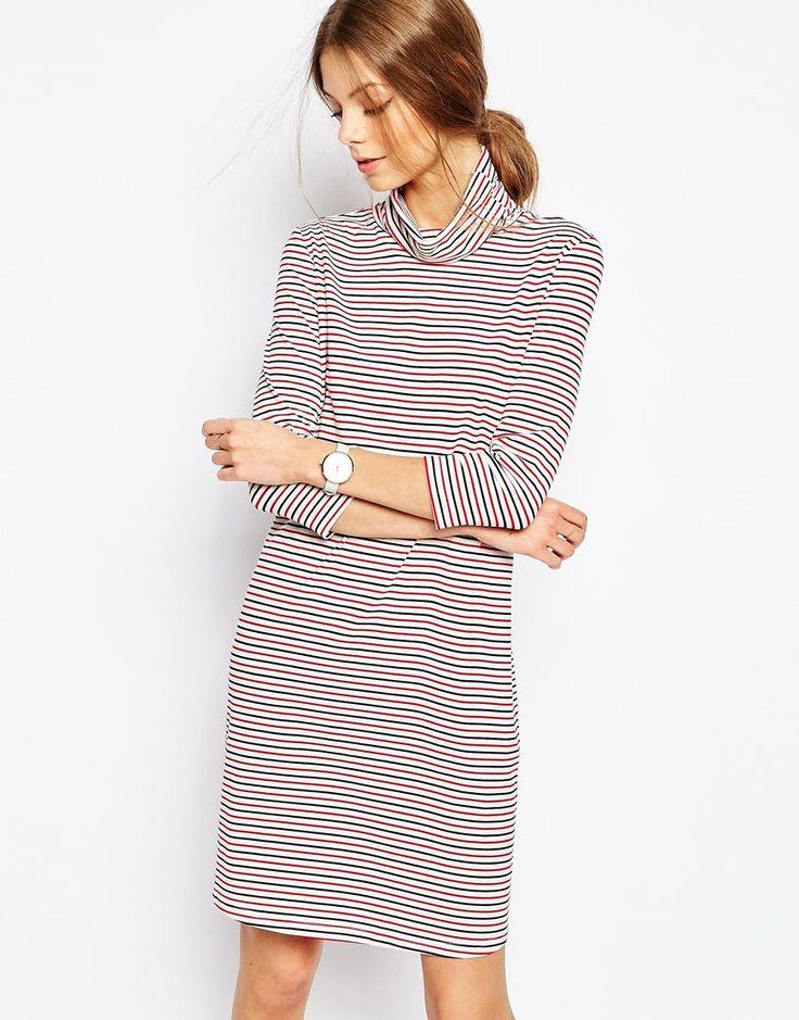 Bild 1 von Selected – Karly – Gestreiftes, hochgeschlossenes Kleid