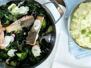 stekt ørret med spinat og potetstappe