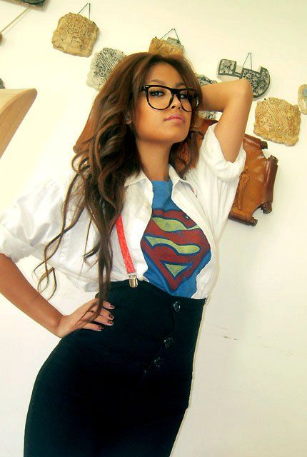 Supergirl in disguise costume. I cute, easy costume that you could wear to any type of party (work, etc.)