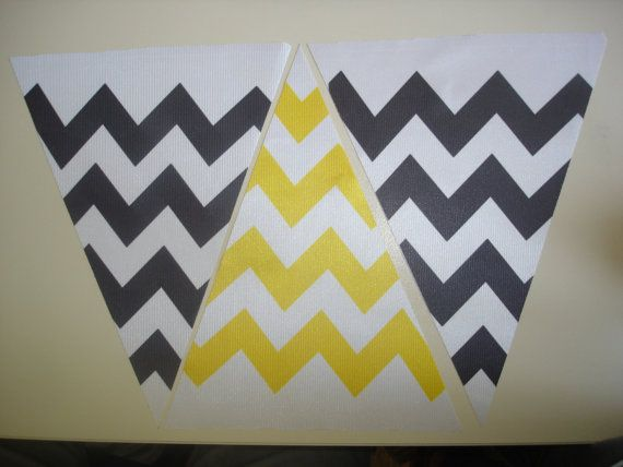 Fabric Bunting Chevron Yellow Black Combination by customflag, $19.00