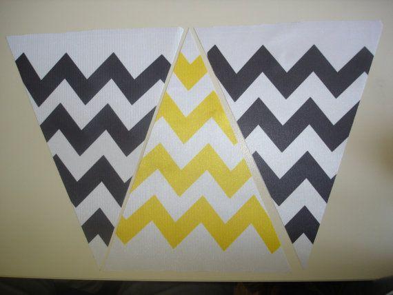 Fabric Bunting Chevron Yellow Black Combination by customflag, $19.00