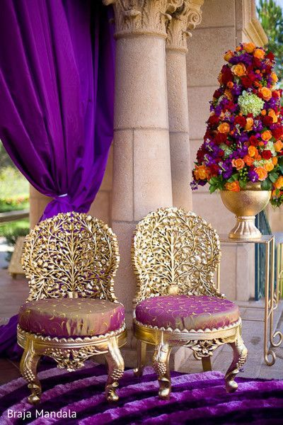 Creative Chowkis! So pretty gold  chairs with carved wonders...singhasan!  #Decor #indianWeddings | Photo source - Braj Mandala | curated by #WittyVows the ultimate guide for the Indian bride | www.wittyvows.com