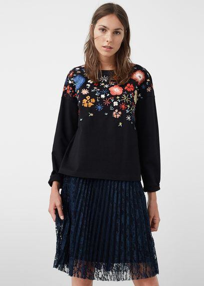 Sweatshirt bordado floral